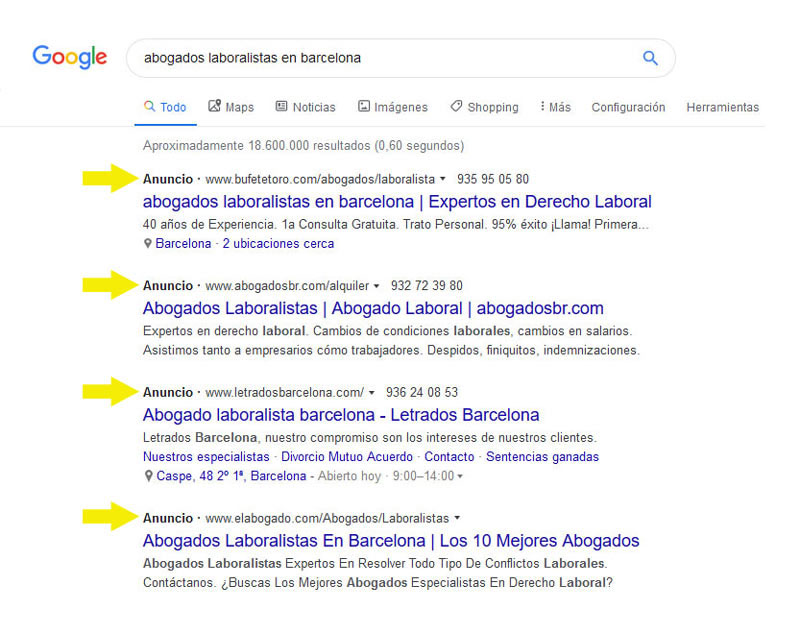 ejemplo posicionamiento google anuncios ppc