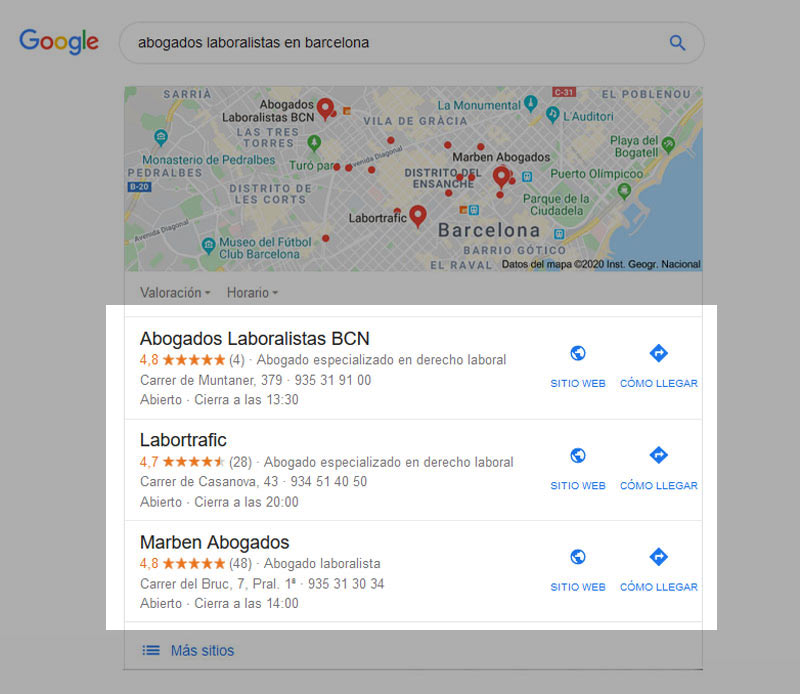 seo local aparicion google imagen busqueda ejemplo