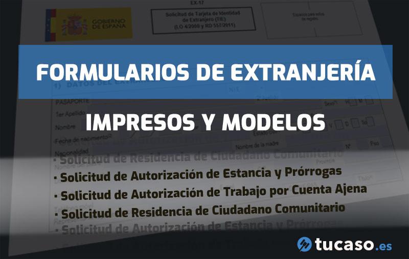 Formularios, Impresos y Modelos de Solicitud de Extranjería